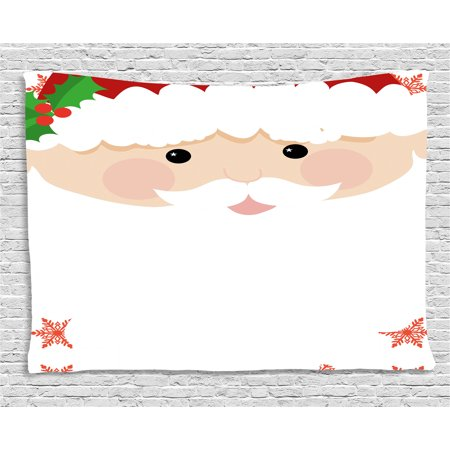 Kids Christmas Tapestry, Cartoon Face of Santa with Pink Cheeks White Beard and Mistletoe on His Hat, Wall Hanging for Bedroom Living Room Dorm Decor, 60W X 40L Inches, Multicolor, by Ambesonne](Kid With Beard)