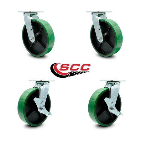 "Service Caster - 8"" x 2"" Polyurethane Wheel Caster Set - Green on Black - 2 Swivel with Brakes and 2 Swivel - Non Marking - 5,000 Lbs Total Capacity - Set of 4"