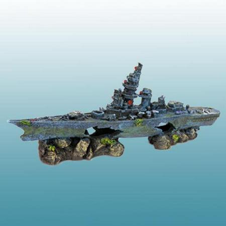 Penn Plax Deco Replicas Sunken Battleship   Small