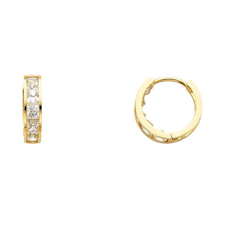 Princess CZ Huggie Hoop Earrings Solid 14k Yellow Gold Huggies Round Stylish Polished Finish 15 mm