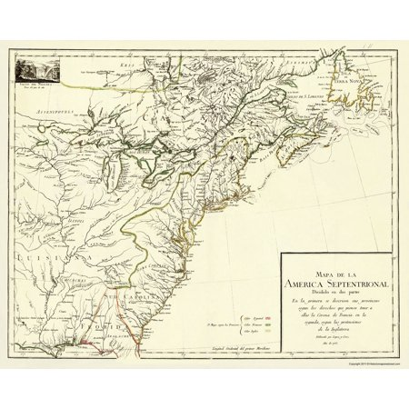 Old Revolutionary War Map - North America Divided into Two Parts 1755 - 23  x 27