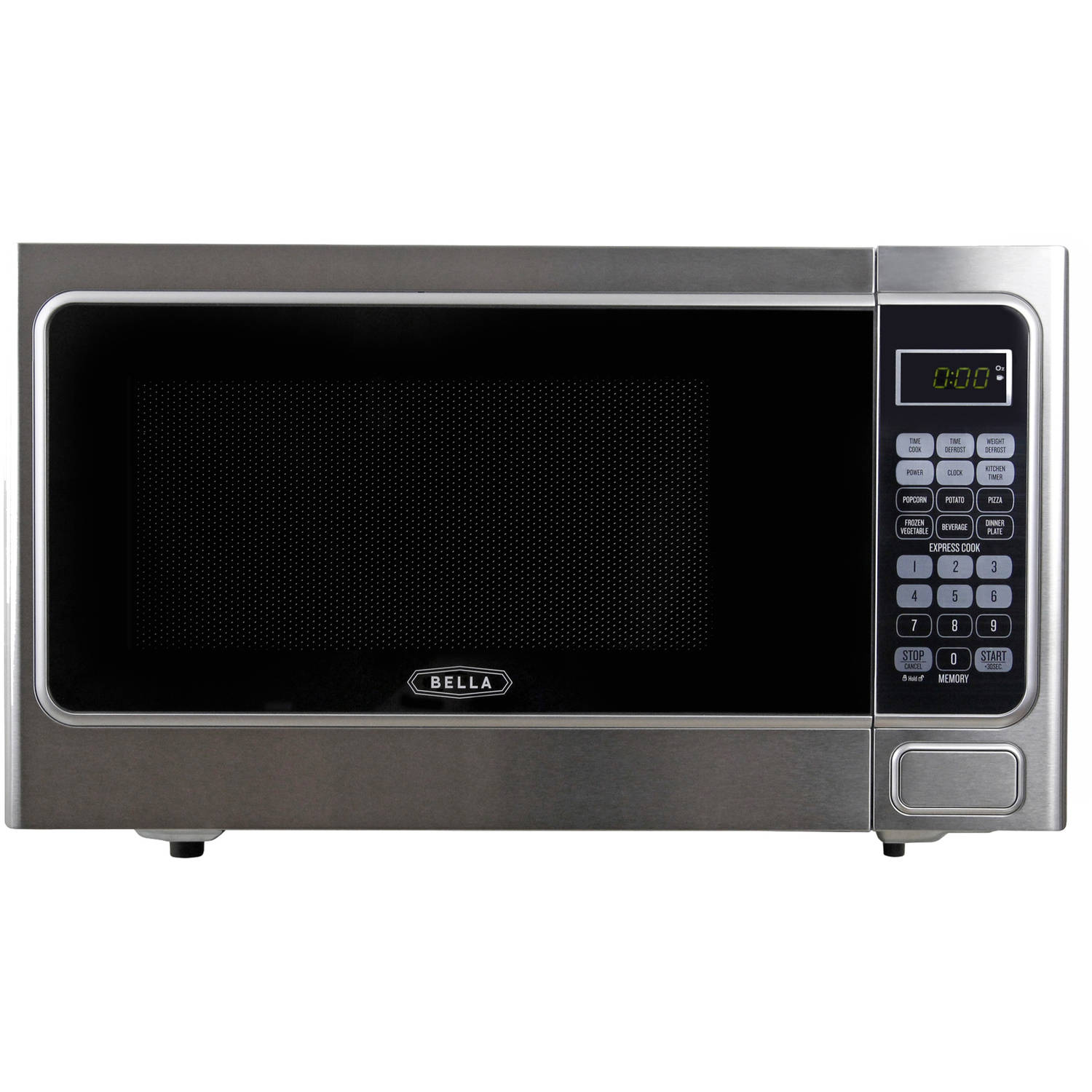 Bella 1.1 Cubic Foot 1000 Watt Microwave Oven in Stainless Steel and Black