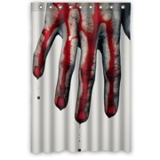 HelloDecor Scary Bloody Hands Help Me Shower Curtain Polyester Fabric Bathroom Decorative Curtain Size 48x72 Inches