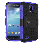 Galaxy S4 Case,Cable And Case Rugged Hybrid Dual Layer Hard Shell Armor Protective Back Case Shockproof Cover for Galaxy S4 Case - Slim Fit - Heavy Duty - Impact Resistant Bumper Cases (Blue)