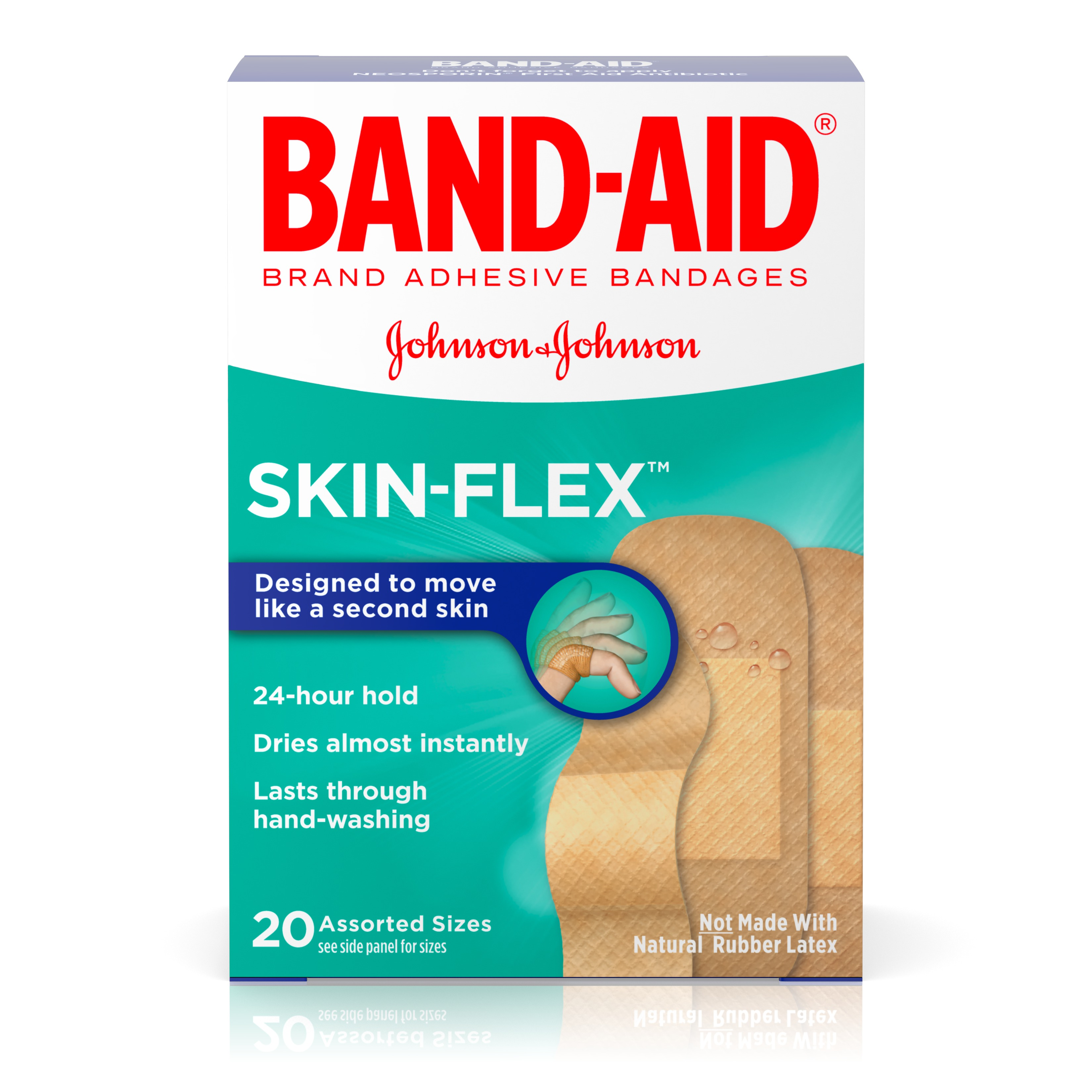 (2 pack) Band-Aid Brand Skin-Flex Adhesive Bandages, Assorted Sizes, 20 ct