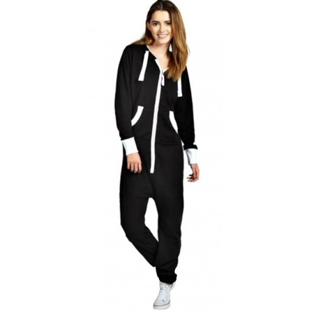 SkylineWears Women's Ladies Onesie Hoodie Jumpsuit Playsuit Black Small