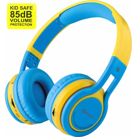 Bluetooth Headphones Cell Phones (Contixo Kid Safe 85db Over the Ear Foldable Wireless Bluetooth Headphone w/ Volume Limiter, Built-in Micro Phone, Micro SD card Music Player, FM Stereo Radio, Audio Input & Output (Blue + Yellow))