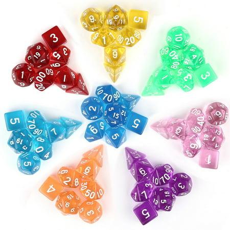 7Pcs/Set Translucent Polyhedral Dice Set for Dungeons Dragons Pathfinder D&D RPG (D4 D6 D8 D10 D12 D20 D%) - Purple Fuzzy Dice