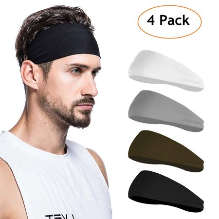 Peroptimist Sport Headbands and Sweatbands for Men, 4 Pack Workout Headbands Hairbands for Yoga, Running, Crossfit, Cycling, Basketball - Breathable, Non-Slip, Performance -