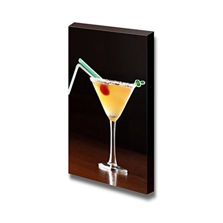 Yellow Alcoholic Cocktail with 2 Straws Beverage Wine Photograph - Canvas Art Wall Decor - 18