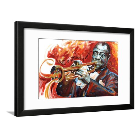 Louis Armstrong: What a Wonderful World Jazz Music Trumpet Player Art Framed Print Wall Art By -