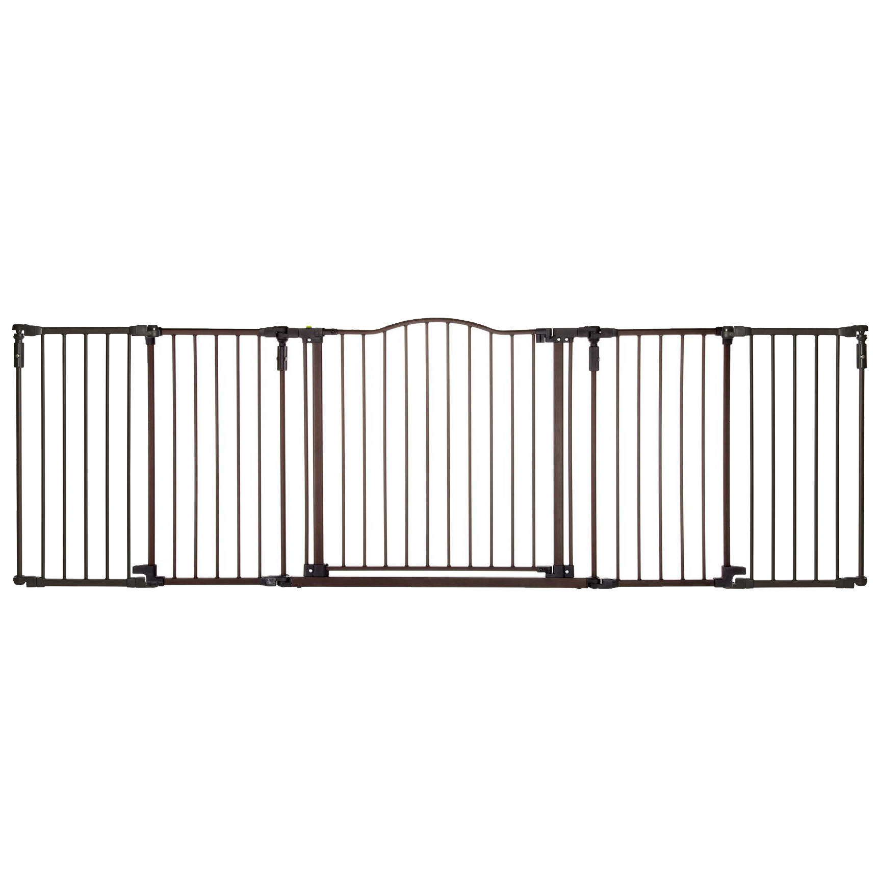 """North States Decor 38-71"""" Wide Metal Gate & 15"""" Bronze Extension Piece (2 Pack)"""