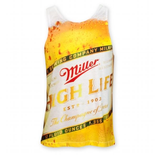 Miller 24647L High Life Mens Sublimated Beer Bottle Tank Top, Large