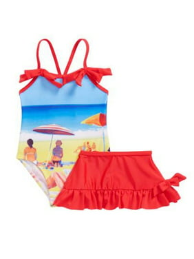 dc6cb88dcf Product Image Sol Swim Baby Girls Red Blue Beach Image Print Cover-Up Skirt  Swimsuit