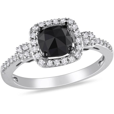 1 Carat T.W. Cushion and Round-Cut Black and White Diamond 14kt White Gold Halo Engagement