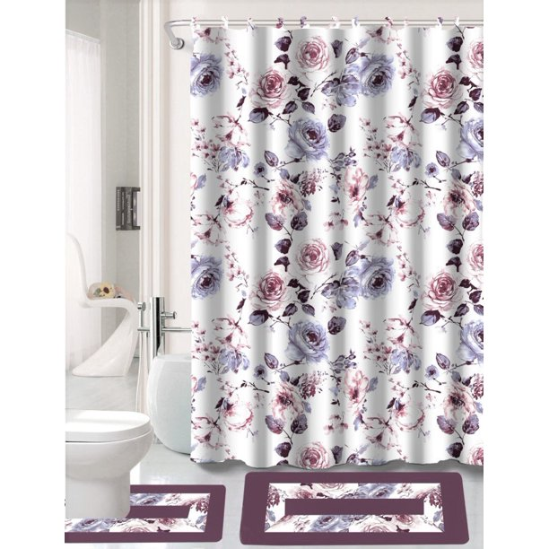 15 Piece Hotel Bathroom Sets 2 Non Slip Bath Mats Rugs Fabric Shower Curtain 12 Hooks Peony Walmart Com Walmart Com