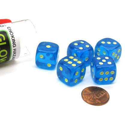 Koplow Games Set of 5 16mm D6 Glow In the Dark Spots Dice in Tube - Blue - Tube Blue Glow