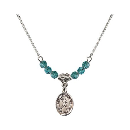 18-Inch Rhodium Plated Necklace with 4mm Blue December Birth Month Stone Beads and Saint Christopher/Football Charm](Football Bead Necklace)