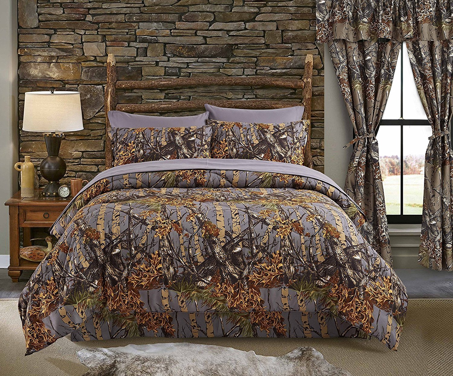 CAMOUFLAGE Comforter Set CAMO Hunting Lodge Gray Green WoodsyBed In A Bag 6-8pc