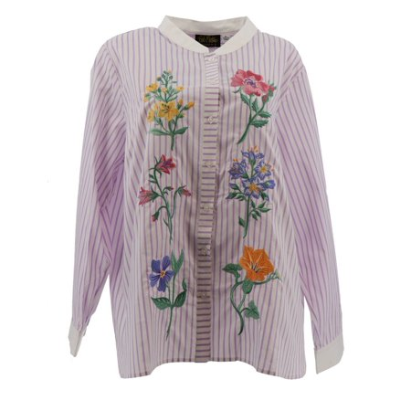 Bob Mackie Floral Embroidered Button Front Shirt A303013 Embroidered Button Front Shirt