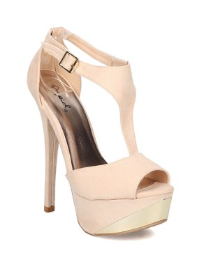 9abe381d7e5 Product Image New Women Qupid Count-09 Faux Suede Peep Toe T-Strap Platform  Stiletto Sandal
