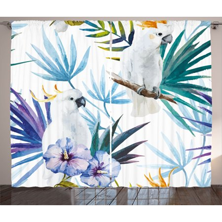 Tropical Curtains 2 Panels Set, Watercolor White Parrot Birds on Palm Tree Branches Leaves Exotic Nature Artwork, Window Drapes for Living Room Bedroom, 108W X 96L Inches, Multicolor, by Ambesonne