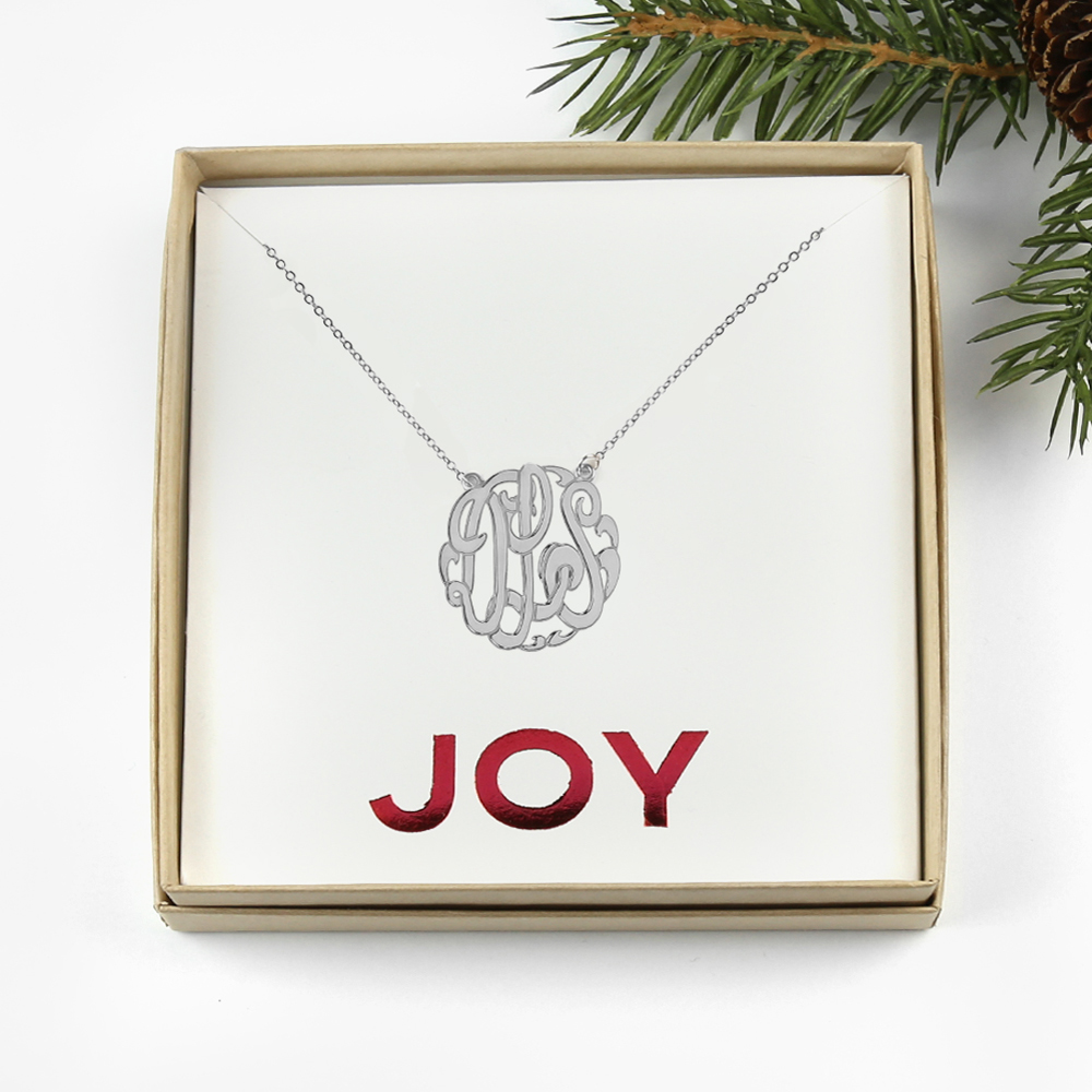 "Sterling Silver Monogram Necklace ""Joy"" Gift Box"