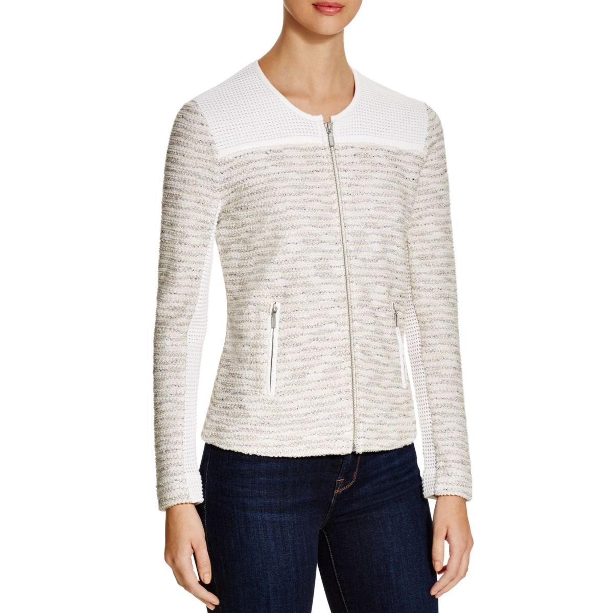 Nic + Zoe Womens Textured Crew Full Zip Sweater