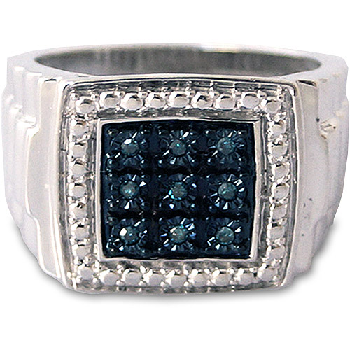 Men's Blue Diamond Accent Nine-Stone Sterling Silver Ring