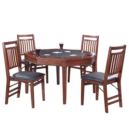 Hathaway Broadway Folding Poker Table & Chairs Set, 48-in, Walnut (3 In 1 Poker Table With Chairs)