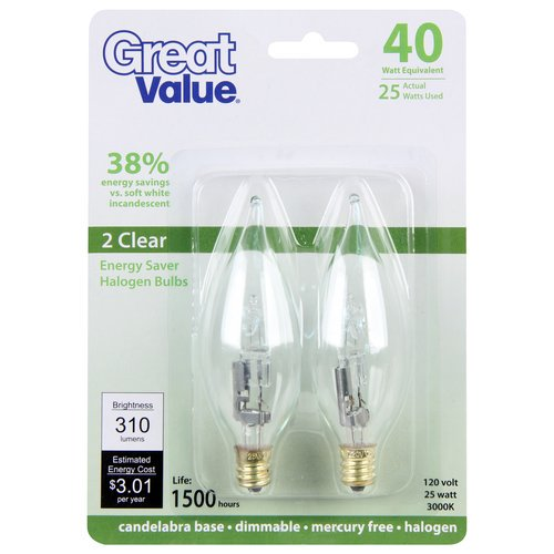 Great value 40w equivalent 25w halogen flame tip candelabra base great value 40w equivalent 25w halogen flame tip candelabra base light bulb clear 2pk walmart mozeypictures Choice Image