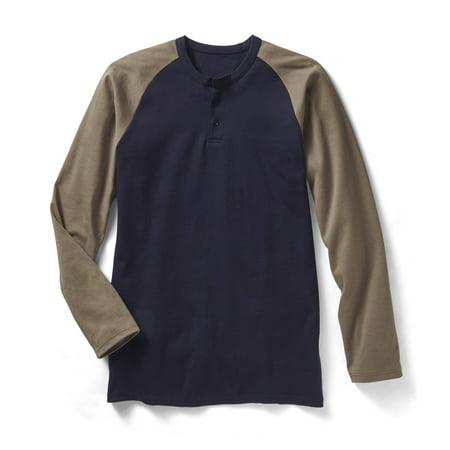 763c25e7 Rasco FR - Rasco FR Khaki/Navy Two Tone Henley T Shirt - 7.1 oz -  Walmart.com