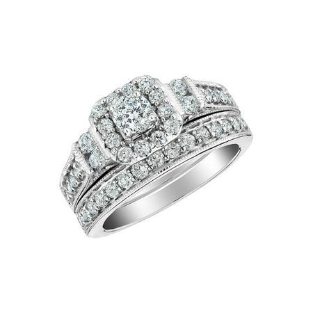 2/5 Carat (ctw H-I, I2-I3) Diamond Engagement Ring & Wedding Band Set in 10K White