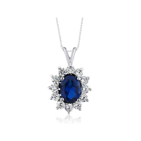 Blue Sapphire Pendant - 2.25 Ct Oval Blue Simulated Sapphire 925 Sterling Silver Pendant with 18