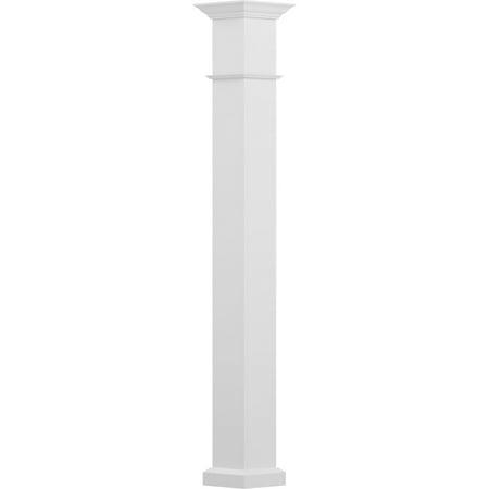 9 x 10 Endura Aluminum Wellington Style Column Square Shaft Load Bearing 15000 lbs Non Tapered Textured White Finish w Capital Base