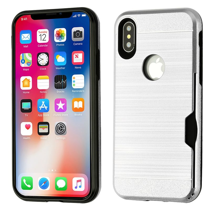 Apple iPhone X Case, by Insten Dual Layer [Shock Absorbing] Hybrid Brushed Hard Plastic/Soft TPU Rubber with Card Slot Case Cover For Apple iPhone X, Silver/Black (Combo with Glass Privacy SPT) - image 1 of 3