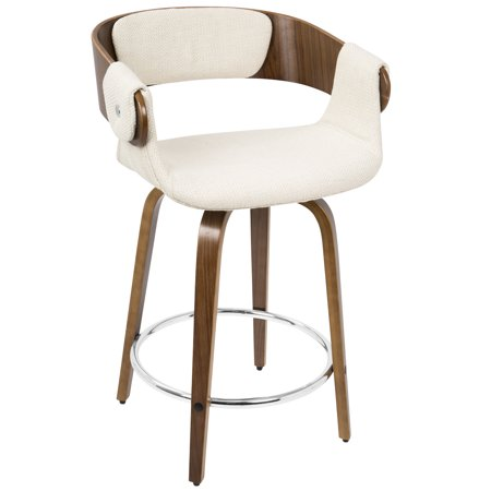 Stupendous Elisa Mid Century Modern Counter Stool In Walnut And Cream By Lumisource Squirreltailoven Fun Painted Chair Ideas Images Squirreltailovenorg