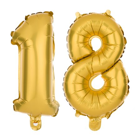 Ella Celebration Non-Floating 18 Number Balloons for 18th Birthday Party, Balloon Numbers 13 Inch Decorations (Gold) - Birthday Numbers