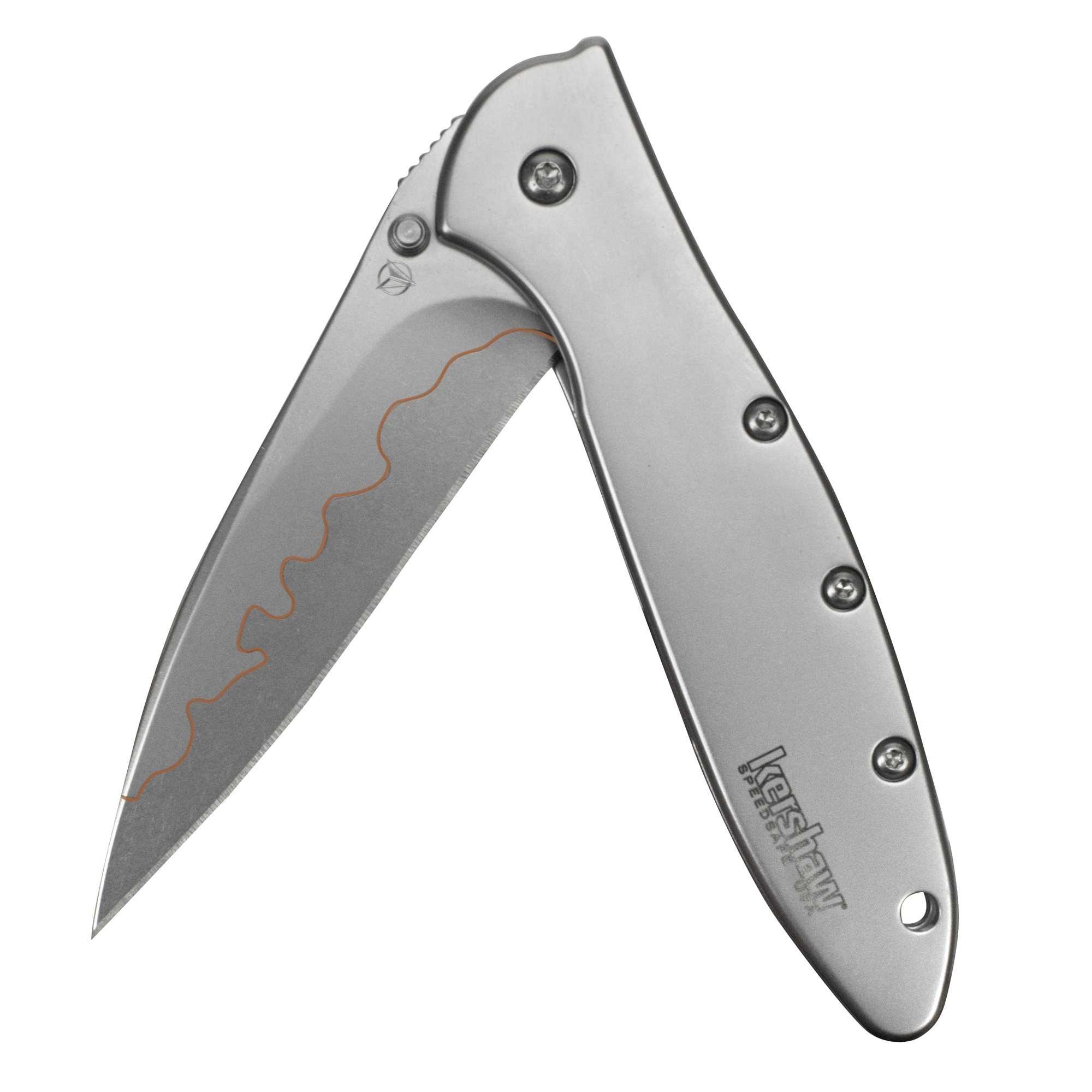 "KERSHAW 1660 FOLDER 3"" D2/14C28N STEEL MODIFIED DROP POINT BLADE SS HNDL"