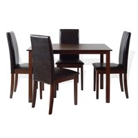 Dining Kitchen Set of 5 Classic Rectangular Dining Table and 4 Side Fallabella Chairs Wood, Dark Walnut