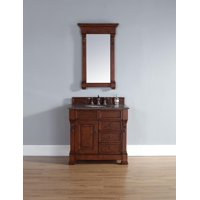 "James Martin Brookfield 36"" Single Cabinet W/ Drawers In Warm Cherry - (Tropical Brown Stone Top)"