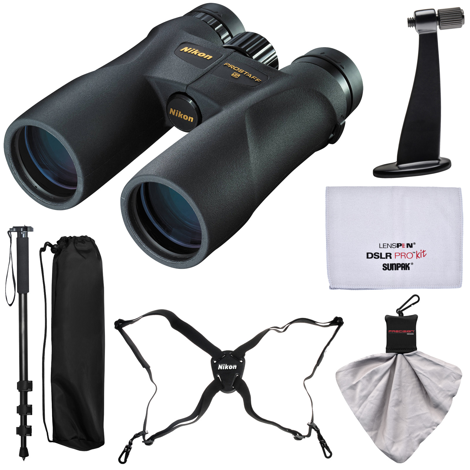 Nikon Prostaff 5 12x50 ATB Waterproof / Fogproof Binoculars with Case + Harness + Smartphone Adapter + Cleaning Kit
