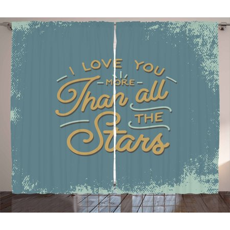 I Love You More Curtains 2 Panels Set, Vintage Letters and Grunge Look with Romantic Saying, Window Drapes for Living Room Bedroom, 108W X 96L Inches, Slate Blue Mint Green -