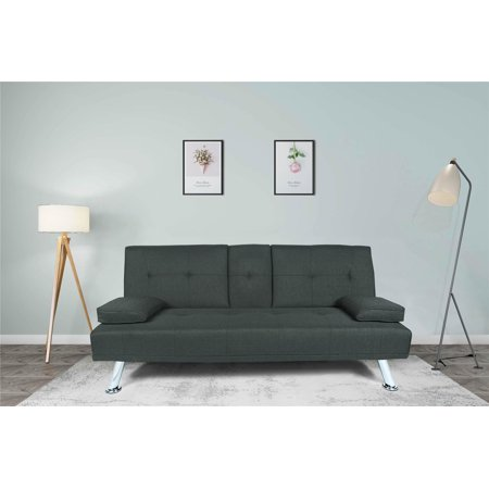 Futon Sofa Sleeper Bed with 2 Pillows, Modern Twin Fabric Sofa, Convertible Folding Recliner Lounge Futon Couch with 2 Cup Holders for Small Room Living Room Bedroom, Dark Grey