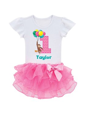 Personalized Curious George Birthday Pink Tutu Tee - 2T, 3T, 4T, 5/6T