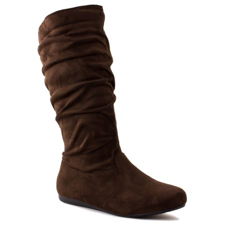 New Girls Slouch Comf Tall Midcalf Suede Winter Boots Shoes (10, Brown SLENA 23-K)