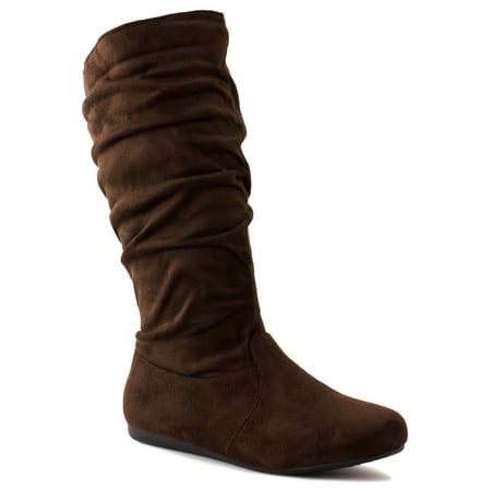 New Girls Slouch Comf Tall Midcalf Suede Winter Boots Shoes (10, Brown SLENA 23-K) - Sparkle Boots For Girls