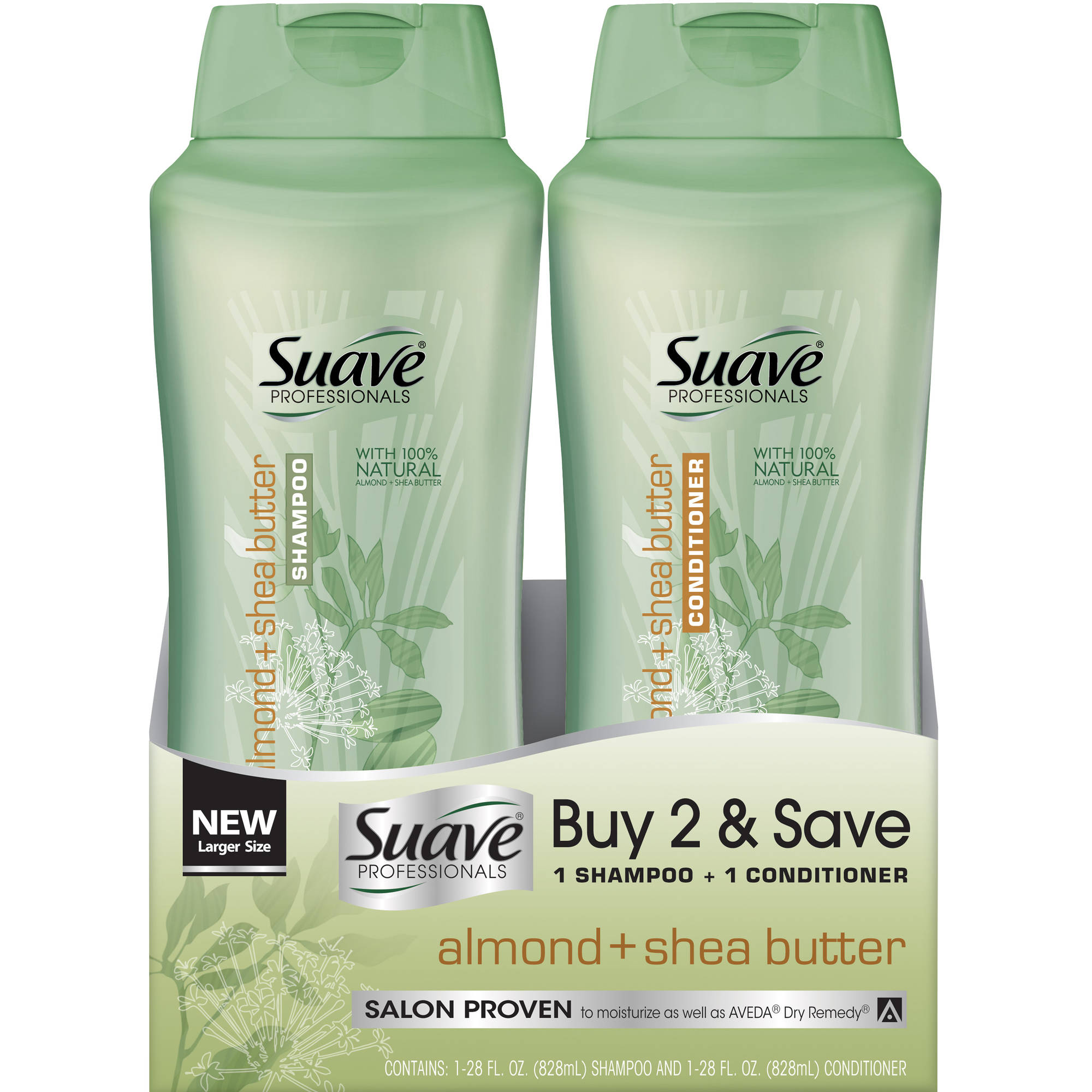 Suave Professionals Almond   Shea Butter Shampoo & Conditioner, 28 fl oz, Pack of 2