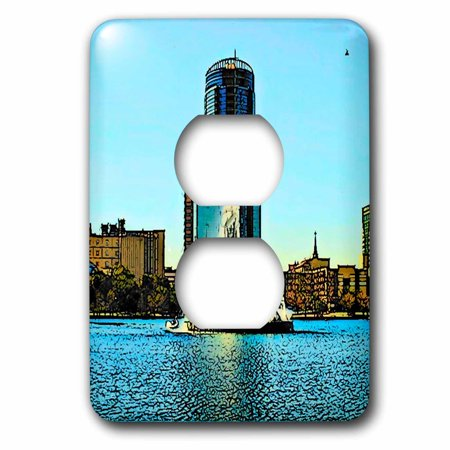 3dRose Orlando Lake Eola with Fountain Cartoon - 2 Plug Outlet Cover (lsp_21716_6)