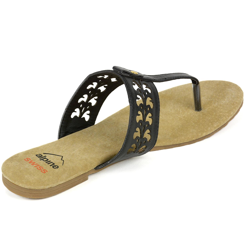 a3a7ae5b8eb Alpine Swiss - Alpine Swiss Womens Suede Sandals Floral Cut Out Faux  Leather T-Strap Flip Flops - Walmart.com